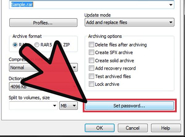 پسورد گذاشتن برای فایل rar
