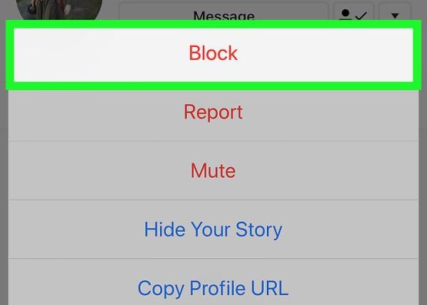 بلاک کردن برای جلوگیری از تگ شدن در استوری اینستاگرام