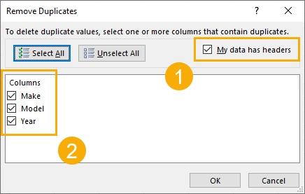 حذف سلول تکراری اکسل با استفاده از دستور Remove Duplicates