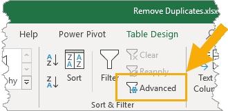 حذف ردیف های تکراری اکسل با استفاده از Advanced Filters