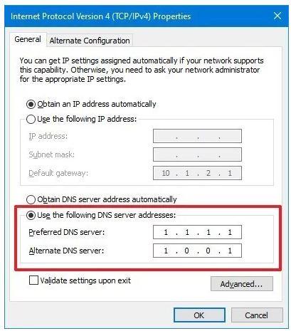 تنظیم DNS در کنترل پنل ویندوز 10
