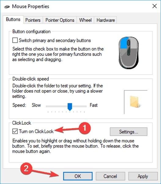 رفع مشکل غیر فعال شدن Drag and Drop ویندوز 10 و.. فعال کردن ClickLock