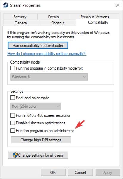 علت ارور Unable to Initialize Steam API، باز کردن Steam با دسترسی Administrator