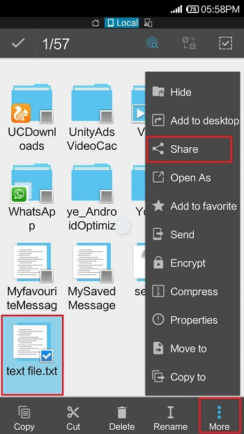 ساخت و بازکردن فایل TXT در اندروید با ES File Explorer