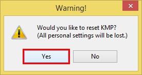 ریست تنظیمات KMPlayer