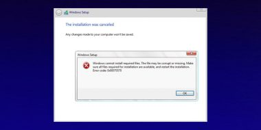 رفع ارور Windows Cannot Install Required Files ویندوز 10 8 7