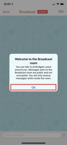 نحوه استفاده از برنامه Bridgefy، تب Broadcast