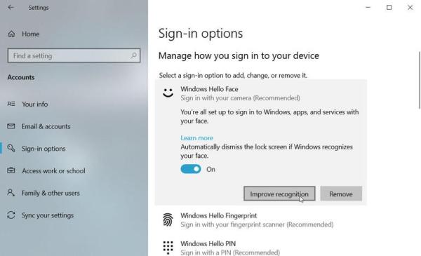 استفاده از تشخیص چهره ویندوز 10 با ویندوز هلو