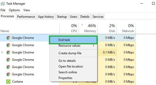 حل مشکل ارور Low memory از طریق بستن برنامه هایی که از مقدار زیادی Memory استفاده می کنند.