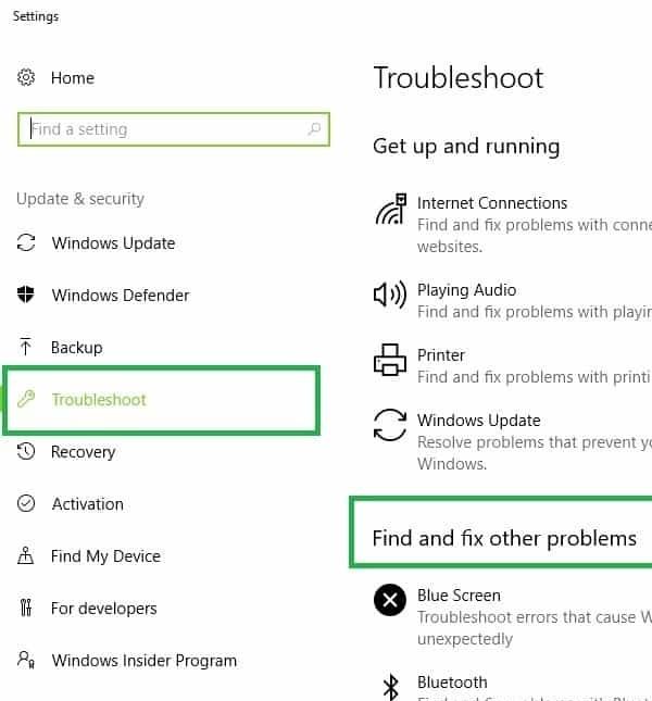 رفع ارور Low memory از طریق استفاده از Windows Troubleshooter