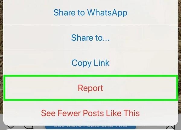 استفاده از پشتیبانی آنلاین اینستاگرام برای ریپورت کردن پست