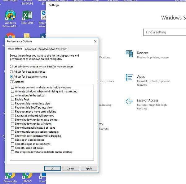 مشکل display driver stopped responding and has recovered ویندوز 10 ، 8 و 7 از طریق عوض کردن جلوه های بصری