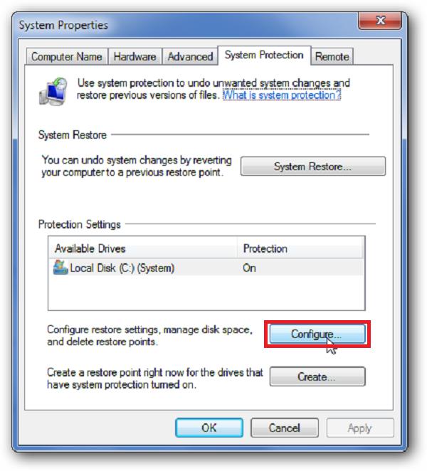 رفع مشکل پر شدن درایو c در ویندوز 10 از طریق کاهش مقدار فضای بازیابی سیستم