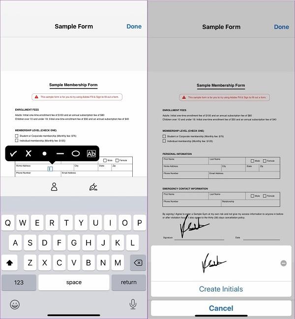 امضا ایمیل در اندروید با نرم افزار ADOBE FILL & SIGN