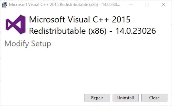 حل مشکل ارور Vcruntime140.dll با تعمیر فایل Visual C++ Redistributable
