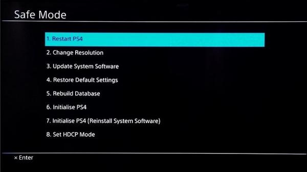 ریست کامل PS4 از طریق Safe Mode