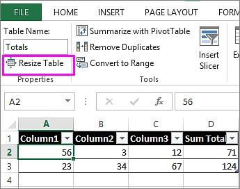 تغییر اندازه جدول در اکسل