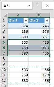 تنظیم فاصله بین جدول در اکسل با Paste کردن داده ها