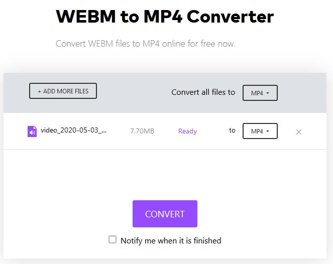 تبدیل webm به mp4 از طریق سایت media.io