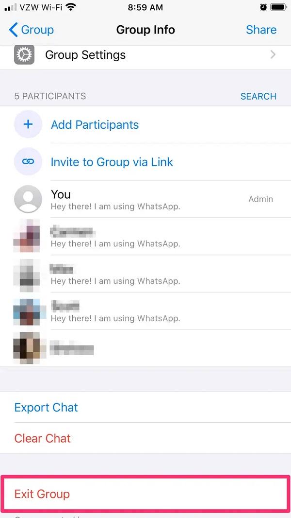 %آموزش خارج شدن و حذف گروه در واتساپ