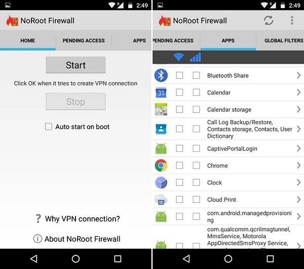 نرم افزار جلوگیری از دسترسی برنامه ها به اینترنت اندروید NoRoot Firewall