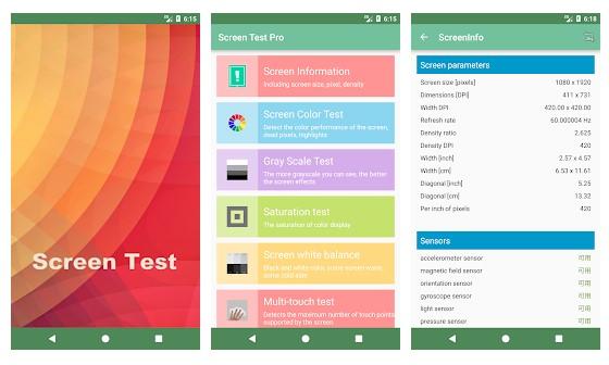 برنامهScreen Test Pro برای تست تاچ گوشی شیائومی