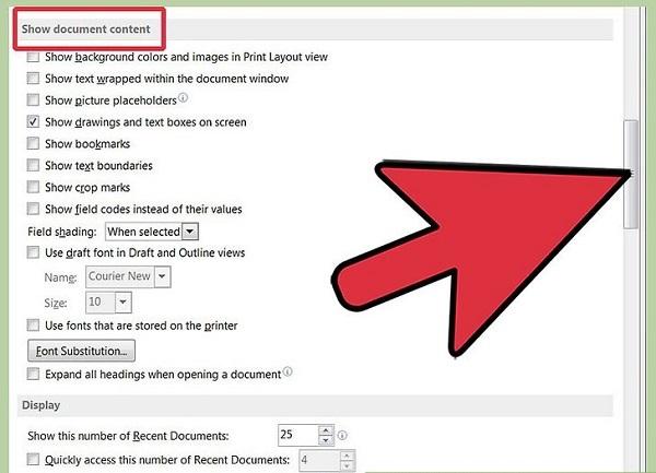 نمای ایجاد bookmark در ورد (در قسمت اطلاعات فایل)
