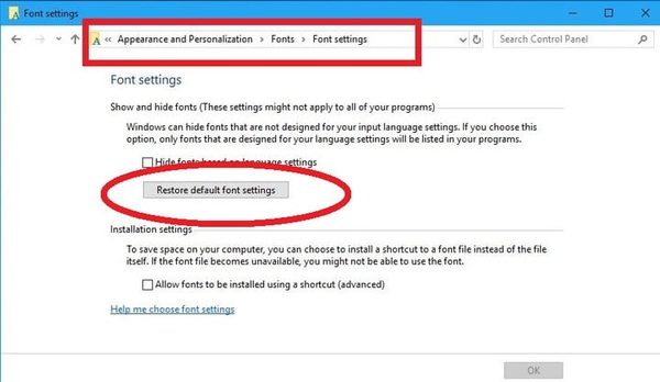 ریست کردن فونت ها برای حل مشکل نصب نشدن فونت در ویندوز 10 و..