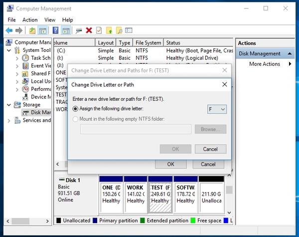 تغییر نام درایو برای هارد دیسک کار کرده جهت حل مشکل عدم شناسایی هارد دوم در ویندوز