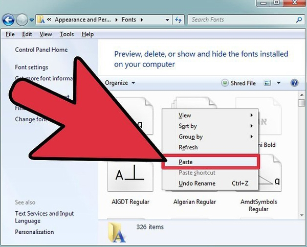 نصب فونت فارسی در کامپیوتر در ویندوز 8، 7 و..