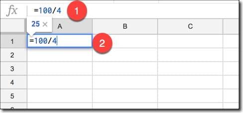 فرمول های ریاضی در گوگل شیت