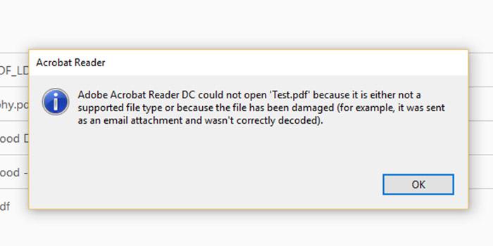 باز نشدن فایل PDF در Adobe Acrobat Reader