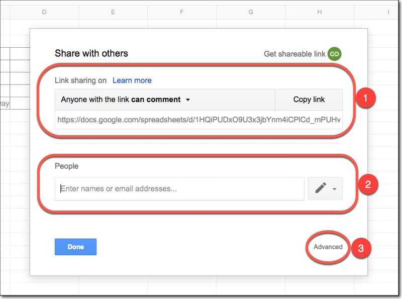طریقه به اشتراک گذشتن صفحات گوگل شیت