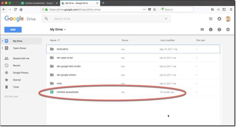 آموزش باز کردن گوگل شیت در Google Drive