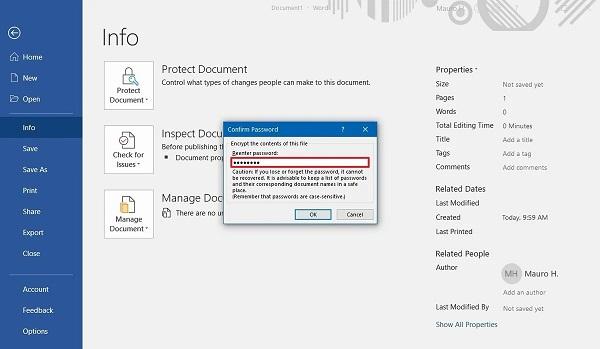 رمز گذاری فایل ورد