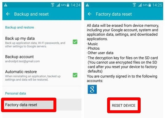 رفع پریدن از برنامه با Factory Data Reset