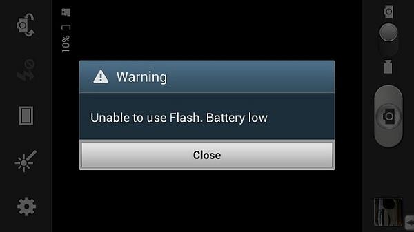 بیرون پریدن از برنامه با Battery low