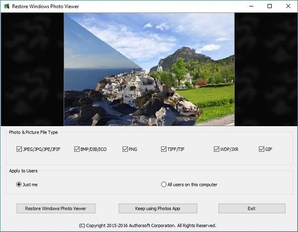 نرم افزار فعال سازی windows photo viewer در ویندوز 10