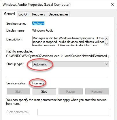 رفع مشکل Audio Services Not Responding با بررسی سرویس ها