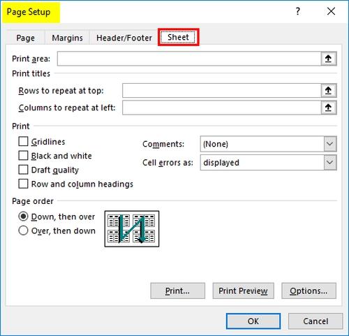 تنظیم عنوان صفحه، تنظیم فایل اکسل در یک صفحه