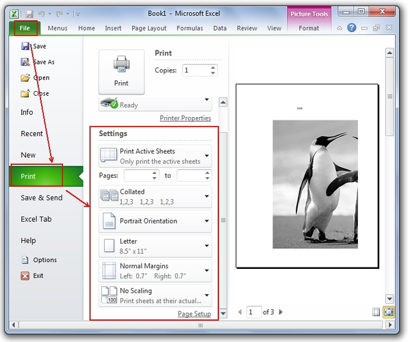 روش تنظیم اندازه صفحه در اکسل قبل از چاپ