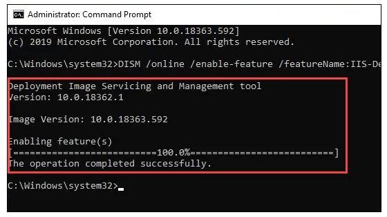 نصب IIS در ویندوز با استفاده از Command Prompt
