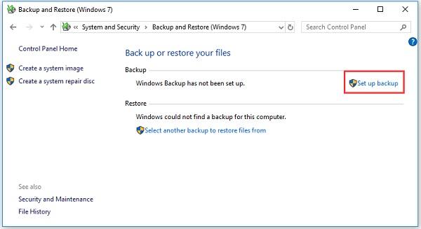 استفاده از Backup and Restore ویندوز