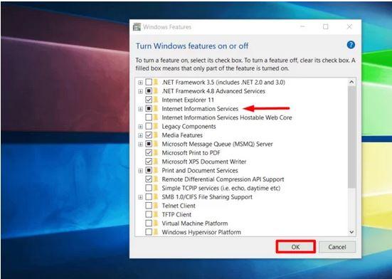 راه اندازی IIS در ویندوز 10