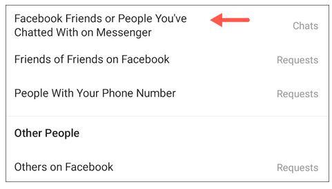 مشکل ارسال پیام افراد فیس بوک در دایرکت اینستاگرام