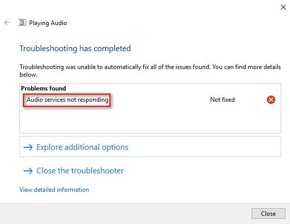 علت و حل پیغام خطای Audio Services Not Responding ویندوز