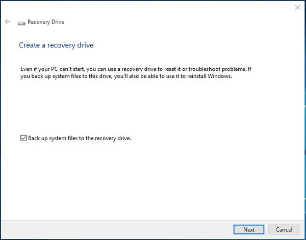 استفاده از Recovery Drive ویندوز 10