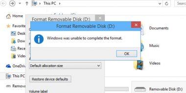 آموزش 11 روش حل مشکل Windows Was Unable To Format ویندوز 10، 8 و 7