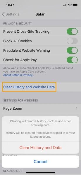 نحوه حذف کش برنامه آیفون برای سافاری (Safari)