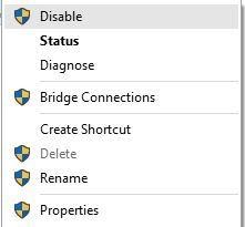 غیر فعال و فعالسازی کانکشن شبکه برای رفع مشکل عدم اتصال به اینترنت در ویندوز 10